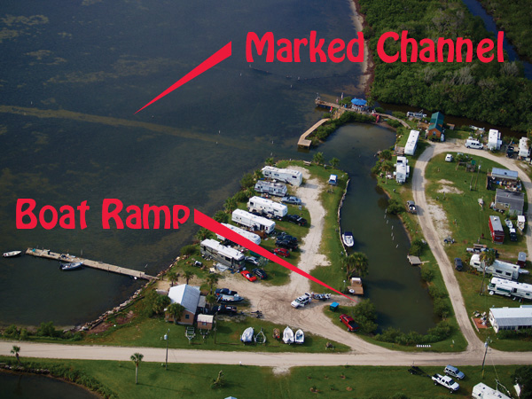 Boat Ramp & Channel Markers at the Mosquito Lagoon RV Park