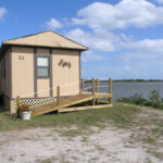 One of five cabin rentals at Mosquito Lagoon RV Park