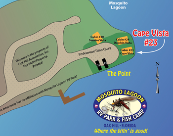 Cape Vista rental cabin location at Mosquito Lagoon RV Park.